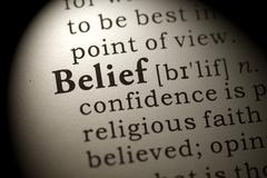 Dictionary word belief Stock Photos