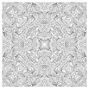 Coloring book page for adult, square form. Vector abstract pattern with floral Stock Illustration