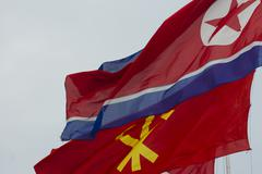 North Korea flags in Pyongyang Stock Photos
