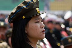 North Korea army women Stock Photos