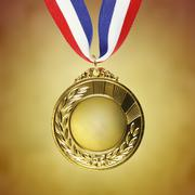 Closeup of golden medal Stock Photos