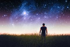 Man silhouette. Elements of this image furnished by NASA Stock Photos