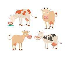 Cartoon cow characters - stock illustration
