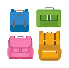 School bags vector isolated Stock Illustration