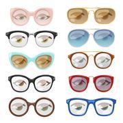 Glasses human eye vector set - stock illustration