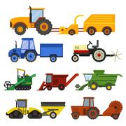 Harvester machine vector set Piirros