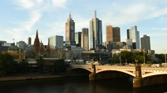 Melbourne City Sunset Timelapse Stock Footage
