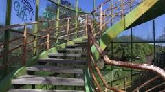 Panoramic Tower of Monsanto Lisbon - abandoned building street art grafi Stock Footage