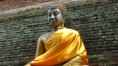 Gold Buddha With Gold Robe Stock Footage
