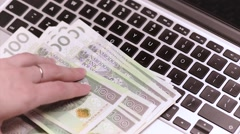 Woman accountant with money Stock Footage