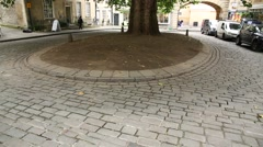 Cobbled square in the city of Bath - Tilt Stock Footage
