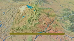 Utah - United States, region extruded. Topography Stock Footage