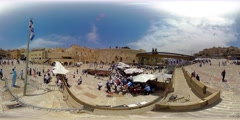 360VR video of Jewish prayers at the Western wall in the old city Stock Footage