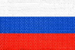 Flag of Russia on brick wall texture background Stock Photos