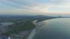 Aerial view long beach in Prachuap Khiri Khan Stock Footage