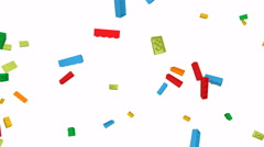 Falling Lego blocks - loop, alpha channel Stock Footage