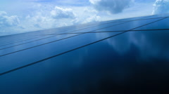 Solar panel with cloud reflection Stock Footage