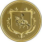 Knight Riding Steed Lance Coat of Arms Medallion Retro. - stock illustration
