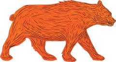 American Black Bear Walking Side Retro - stock illustration