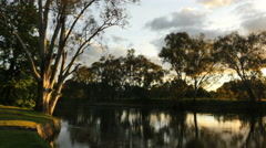 Australia Murray River at Albury late afternoon Stock Footage