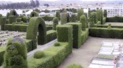 Sculptures of public garden Stock Footage