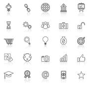 Start up line icons with reflect on white background - stock illustration