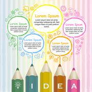 creative template infographic with colorful pencils drawing lines - stock illustration
