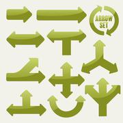Simplicity green arrows set Stock Illustration