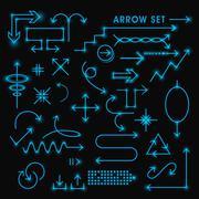 modern fluorescent arrows set - stock illustration