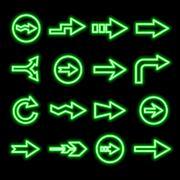 modern fluorescent green arrows set - stock illustration
