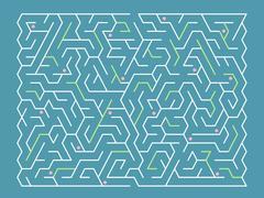 fashionable rectangular labyrinth - stock illustration