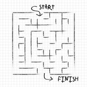 Innovative maze drawn by pencil Stock Illustration