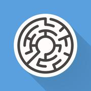 attractive circular maze - stock illustration