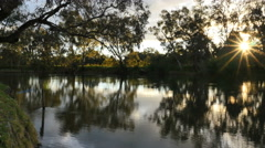 Australia Murray River at Albury sun glow Stock Footage