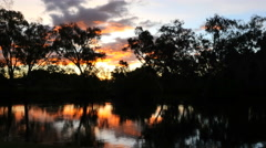 Australia Murray River at Albury sunset glow on water time lapse Stock Footage