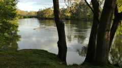Australia Murray River at Albury seen through trees Stock Footage