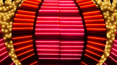 Red Neon Las Vegas Casino Sign at Night Stock Footage