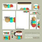 colorful circle background corporate identity set - stock illustration