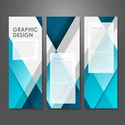 Creative advertising banner template in blue Stock Illustration