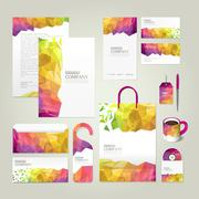 colorful geometric background corporate identity design set - stock illustration