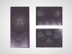 Elegant flower shape background tri fold brochure Stock Illustration