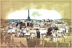 Eiffel Tower in Paris Stock Illustration