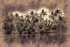 Palm trees on sea shore at beautiful sunny day Stock Illustration
