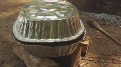 Camping Trip Nature Cooking In Tin Pans Stock Footage