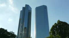 4K Frankfurt am Main financial center Deutsche bank Willi Brandt square Germany Stock Footage