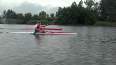 Kayak sprint training Stock Footage
