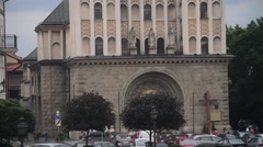 Bielsko-Biala, Cathedral of St. Nicholas Panorama - Poland Stock Footage