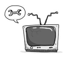 Broken TV Needs Fixing Stock Illustration