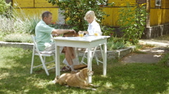 Woman and man playing backgammon and talk. Stock Footage