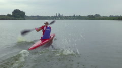 Contestant in rowing Stock Footage